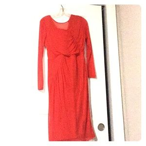 ASOS red long sleeve midi dress